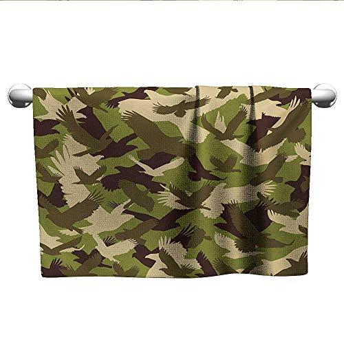 xixiBO Towel Set W28 x L12 Camo,Eagle Silhouettes Flying Open Wings Falcon Hawk Armed Forces Theme,Army Green Dark Brown Cream Beach Fast Dry Towel