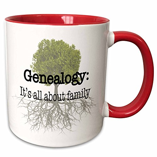 3dRose EvaDane - Quotes - Genealogy it's all about family - 15oz Two-Tone Red Mug (mug_157438_10)