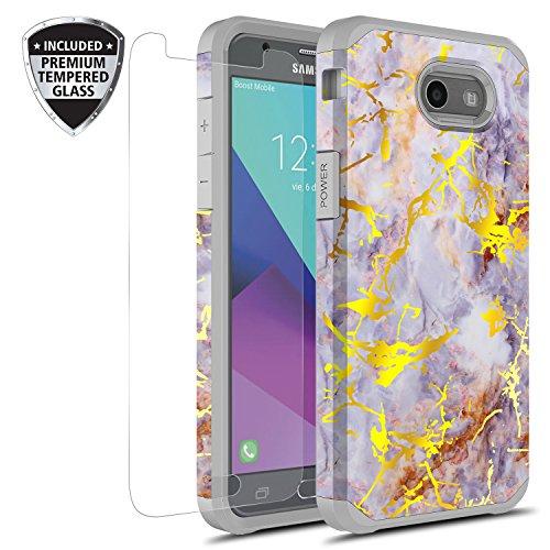 (Rosebono Gold Purple Marble Case for Samsung Galaxy J3 Emerge/J3 Prime/Express Prime 2/Amp Prime 2/Sol 2/J3 Mission J3 Eclipse/J3 2017/J3 Luna Pro w/Tempered Glass Screen Protector)