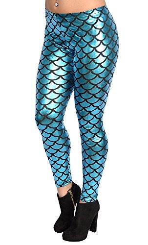 BadAssLeggings Womens Shiny Mermaid Leggings
