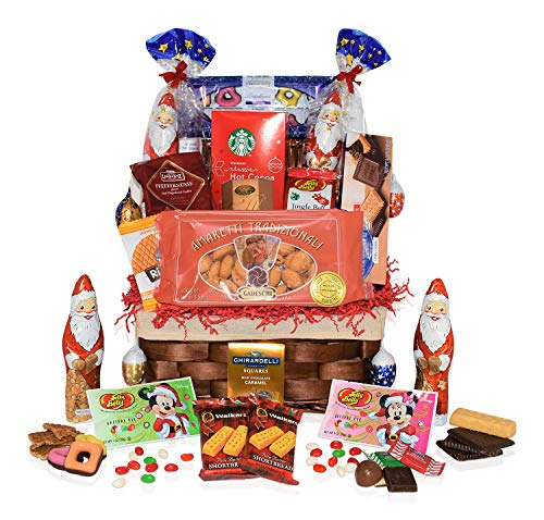 Christmas Chocolate & Snacks Variety Gift Basket – Premium Christmas Gift for Office, Meetings, Schools, Friends & Family. ()