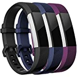 Maledan Replacement Bands Compatible for Fitbit Alta, Alta HR and Fitbit Ace, Classic Accessories Band Sport Strap for Fitbit Alta HR, Fitbit Alta and Fitbit Ace, 3-Pack, Black/Blue/Plum, Small