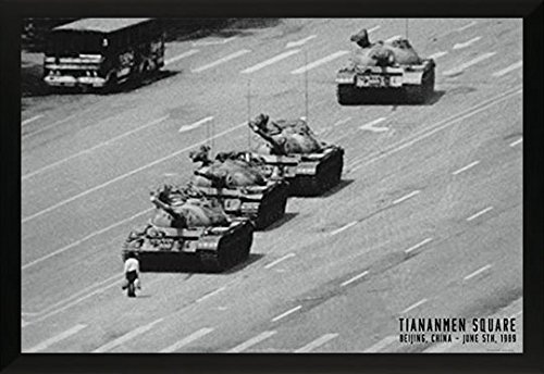 Tiananmen Square Tank Man Or Unknown Protester June 1989 Chinese Military Tanks Poster Print (24X36 FRAMED POSTER) Tank Man Tiananmen Square