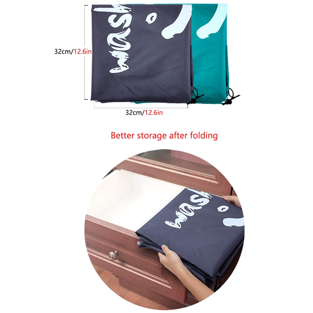 IHOMAGIC 2 Pack Extra Large Laundry Bags 120L Foldable Storage Bag with Drawstring Cord Lock Smile Fabric Bag Quilt Bag Dark Blue Nylon Dirty Clothes Bags for Home or Dormitory as Travel Bag