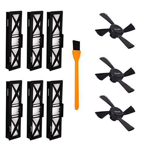 (9 Packs) Neato Botvac Connected Ultra Performance Filters (D80, D85) and Neato Side Brushes , Hongfa Replacement for Neato Vacuum Parts D80, D85, 80, 85,D70,70e, 75