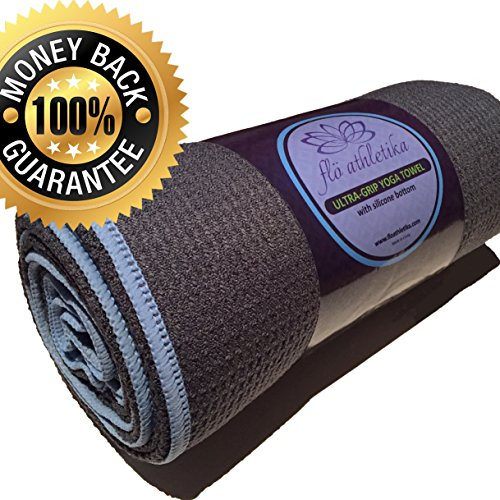 HOT YOGA TOWEL by FloAthletika - Premium Skidless Towel with Silicone bottom, Extra Absorbent, Anti-Slip, Washable, Mat Size. Best Yoga Towel for Bikram and other forms of Yoga / Pilates
