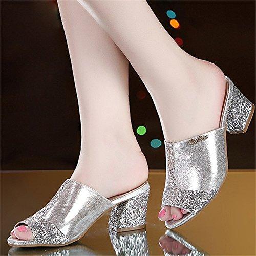ZPPZZP Presidente, estate, sandali, pantofole a tacco alto, tacco che argento , 35EU