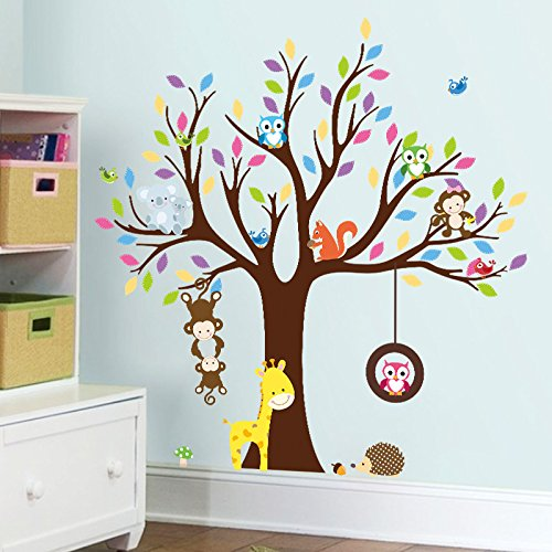 Giraffe Koala Wall Decor for Bedroom Nursery Room Baby Children Room ZY1232-1 Amaonm Creative Fashion Cartoon Zoo Animals and Giant Colorful Brown Tree Wall Stickers Murals Owls Wall Decal Monkey