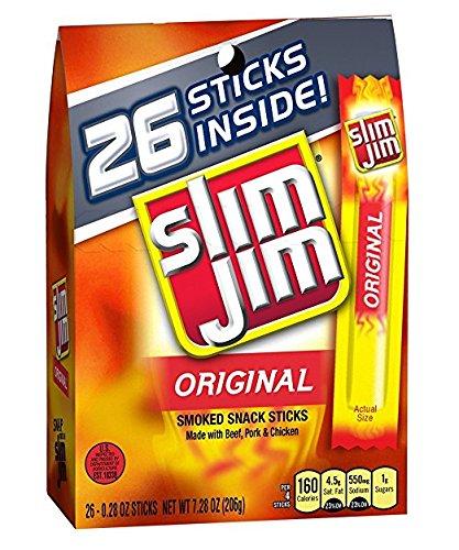Slim Jim Smoked Meat Sticks, 0.28 Oz, 26-Count