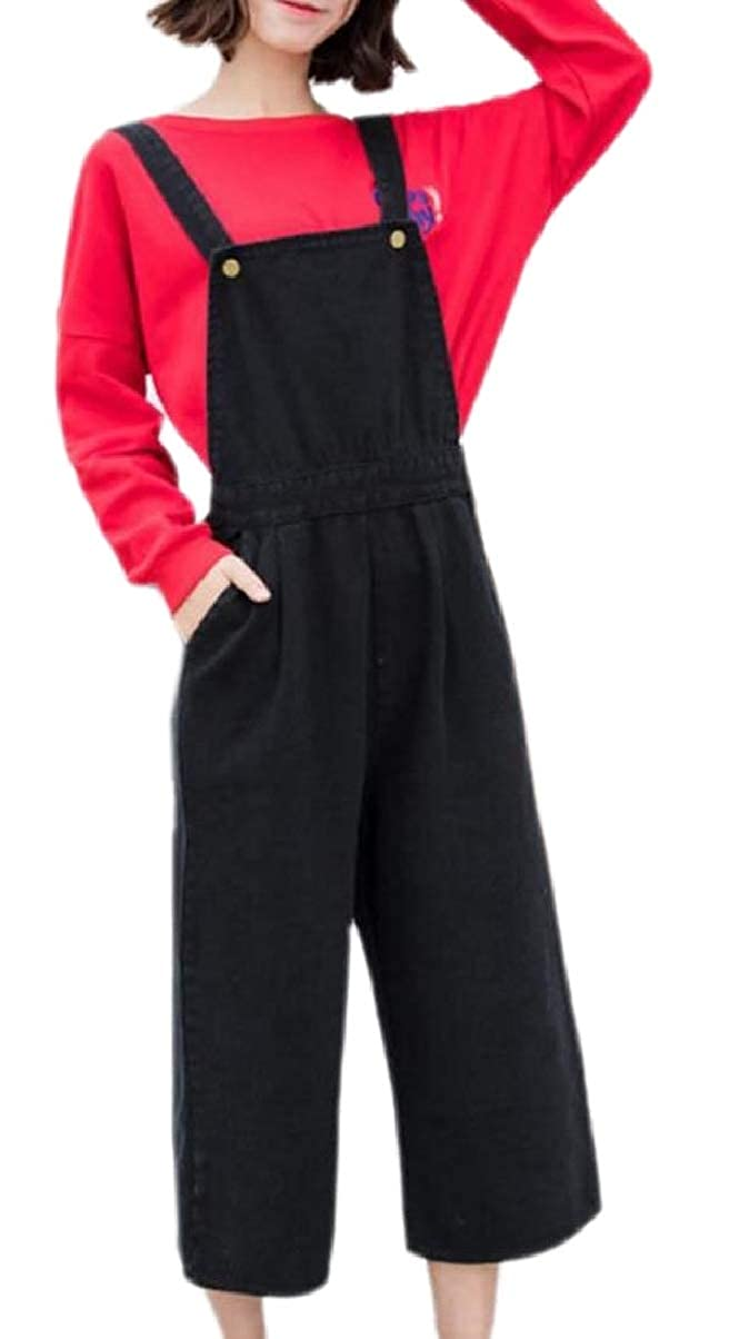 ZXFHZS Womens Pockets Jumpsuits Tactical Denim Loose Fit Jean Pants Overalls