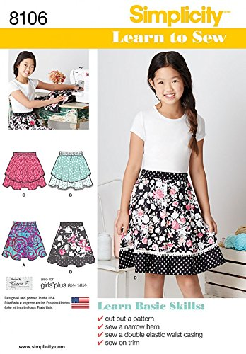 Simplicity Girls Easy Sewing Pattern 8106 Learn to Sew Skirts: Karen