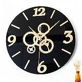 TRRE 12 inches retro nostalgia Vinyl CD record gear wall clock ( Color : Gold )