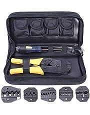 Amzdeal Crimpadora con 5 Pinzas Intercambiables 1*destornillador y 1*caja de Almacenamiento para la Deformación del Cable de Red
