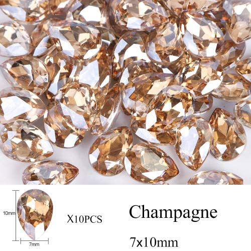 (Nail Art Accessories - Rhinestones For Nails Rhinestones For Crafts Nail Art Supplies - 10pcs Water Nail Rhinestones Crystal Stones Shiny DIY Charms Jewelry Nail Decoration - Champagne 7x10mm)