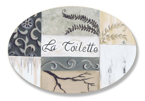The Stupell Home Decor Collection La Toilette Tan and Black Patchwork Oval Bathroom Wall Plaque