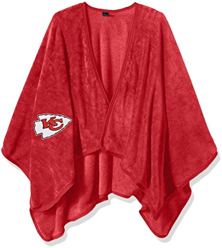 NFL Kansas City Chiefs Silk Touch Throw Blanket Wrap with Applique (Chief Silk)