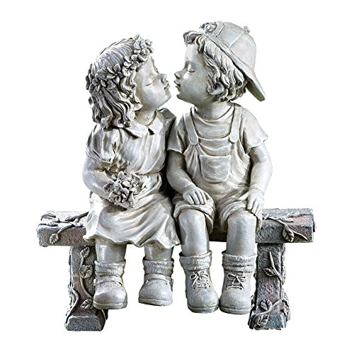 (First Kiss, Puppy Love, Kissing Couple Garden Sculpture)
