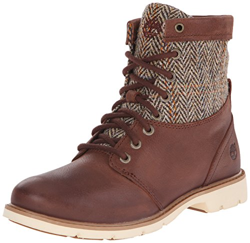 Timberland Women's Bramhall Fabric/Leather 6 Inch Winter Boot, Dark Brown Woodlands/Tan Harris Tweed Wool, 6 M US - Tan Wool Tweed