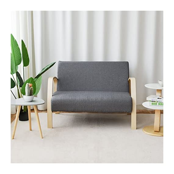 Giantex Modern Accent Wooden Armchair, Contemporary Fabric Upholstered Lounge Chair, Solid Wood Frame & High-Density… - 🛋️〖Multifunctional Retro Modern Accent Chair〗: Not only is this accent chair applicable to household environment, such as living room, bedroom and balcony, but also ideal for office and reception room use. This versatile chair is ideal for reading, chatting and relaxing . It also perfectly serves as a guest chair. 🛋️〖Ergonomic Design with Spacious Seat〗: With perfect lying angle, our lounge chair conforms to ergonomic design, which makes the backrest fit your back perfectly. Other than that, featuring spacious seats, this accent chair allows you to lean your back in it and enjoy your leisure time comfortably. 🛋️〖High Quality Wood Material〗: Constructed by wood frame, the arm chair is stable and durable, which has the bearing capacity of 550lbs. At the meanwhile, wood material has clear wood grain and natural color, beautiful and natural. Except for that, the armrest is made of birch, which offers smoother touch. - living-room-furniture, living-room, accent-chairs - 51j8IasVhdL. SS570  -