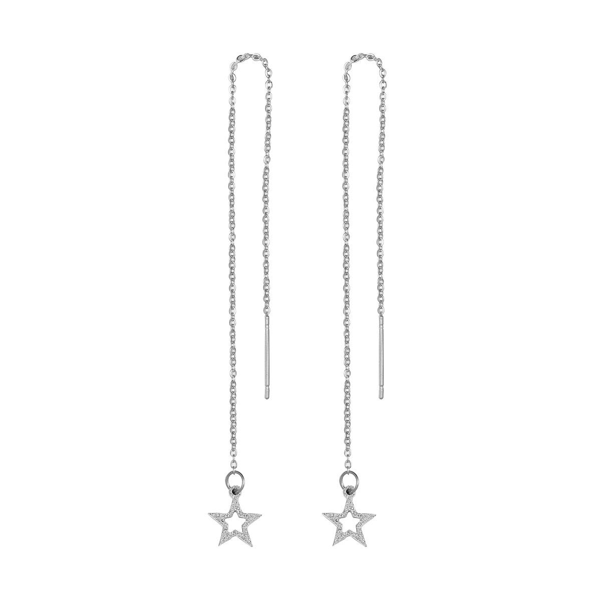 HooAMI Stainless Steel Hollow Star Threader Drop Earrings For Women Girls