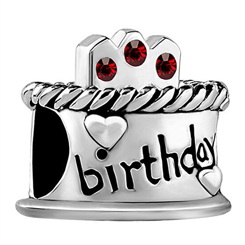 Happy Birthday Cake Candles Jan-Dec Birthstone Crystal 925 Sterling Silver Bead fit European Charms (Garnet January - Charm Pugster January