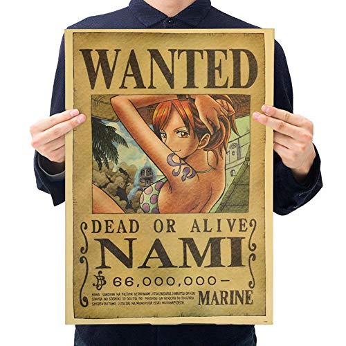 SEEK-YST 10Pcs One Piece Action Figure Wanted Poster Craft Print Wall Sticker Vintage Movie Playbill Luffy Stickers One Piece Wallpaper