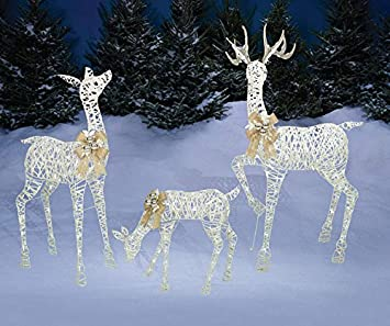 pre lit life sized outdoor 3pc pvc lighted deer family w yard stakes