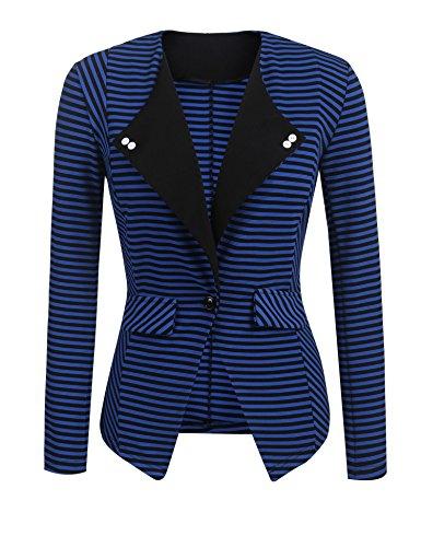 SE MIU Women's Cotton Long Sleeve Slim Short Blazer Suit Jacket PAT2 - Jacket Front Button Short