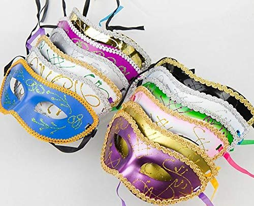 Dunnomart Retail Half Face Mask Halloween Masquerade mask Female Party Makeup mask Macrame Plating Powder Colourful mask -