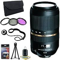 Tamron AF 70-300mm f/4.0-5.6 SP Di VC USD XLD for Canon Digital SLR Cameras + 62mm 3 Piece Filter Kit + Lens Cap Keeper + Deluxe Starter Kit DavisMax Bundle