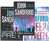 Seven LARGE PRINT books from author John Sandford -- Field of Prey / Gathering Prey / Silken Prey / Deadline / Deep Freeze / Saturn Run / Storm Front