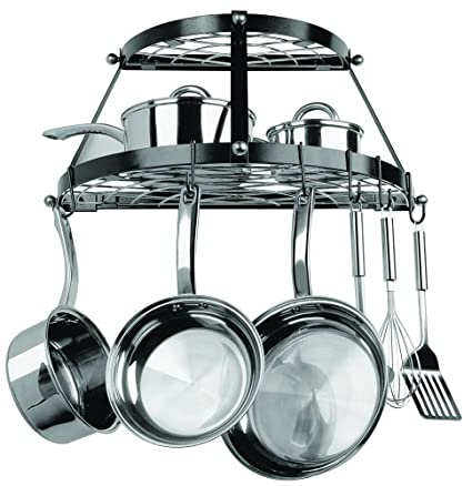 Half Round Black Wall Mounted Pot & Pan Rack