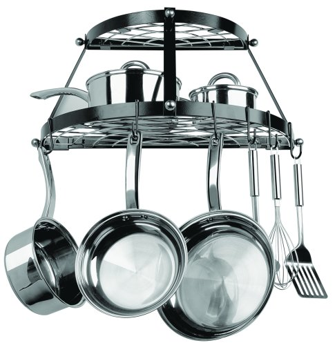 Range Kleen CW6002 2-Shelf Wall-Mounted Pot Rack, Black