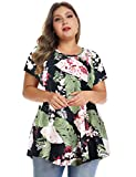MONNURO Womens Short Sleeve Casual Loose Fit Flare Swing Tunic Tops Basic T-Shirt Plus Size(Flower09,5X)