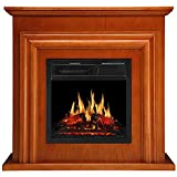JAMFLY Electric Fireplace Insert 18' Freestanding Heater with 7 Log Hearth Flame Settings and Remote Control,1500w,Black