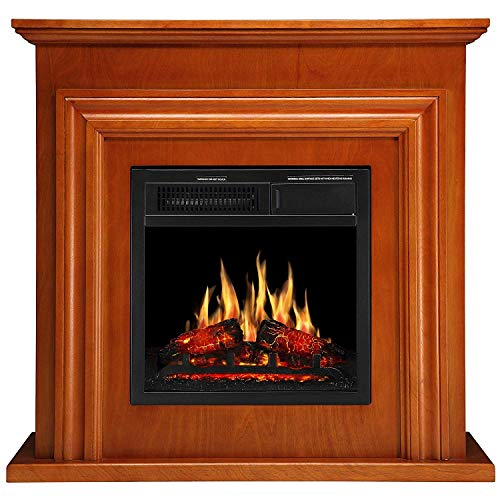 JAMFLY 36'' Wood Electric Fireplace Mantel Package Freestanding Heater Corner Firebox with Log Hearth and Remote Control, 750-1500W (Birch)