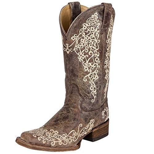 Corral Boots Women Brown Crater Bone Cowboy Embroidery Square Toe 8.5 B M US (Womens Square Toe Boot)