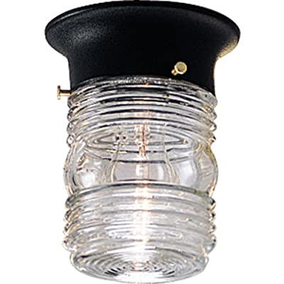 Progress Lighting P5603-31 Traditional One Light Close to Ceiling from Utility Lantern Collection in Black Finish, 4-7/8-Inch Diameter x 6-1/4-Inch Height