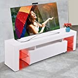 JAXPETY High Gloss White TV Stand Cabinet for up to 63-inch TV Screens LED Light Shelves White
