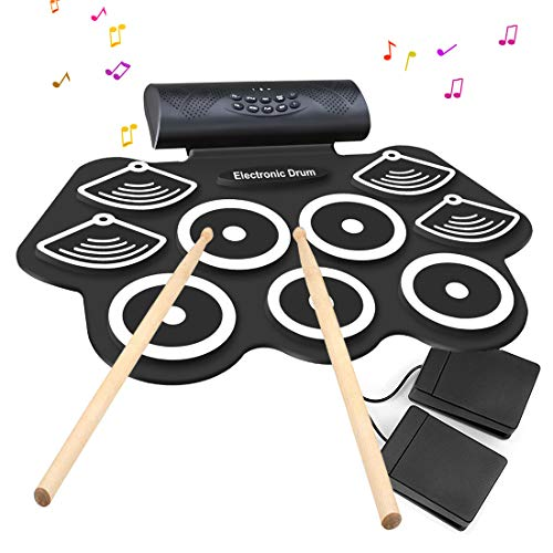 Electronic Drum Set – 9 MIDI Drum Practice Pads, Bluetooth Portable Roll Up Electric Drum kit with Headphone Jack, Built in Speaker and Battery, Drum Stick, Foot Pedals for Kids or Beginner