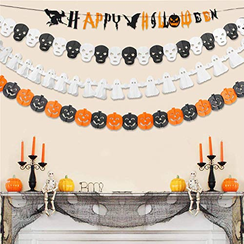 Halloween Tissue Paper Garland (Halloween Garland Paper Banner, Happy Halloween Bunting Banner, Halloween Party Hanging Banner Set Kit, Halloween Tissue Garland Party Banner Decoration, Pumpkin Ghost Skull Garland -4)