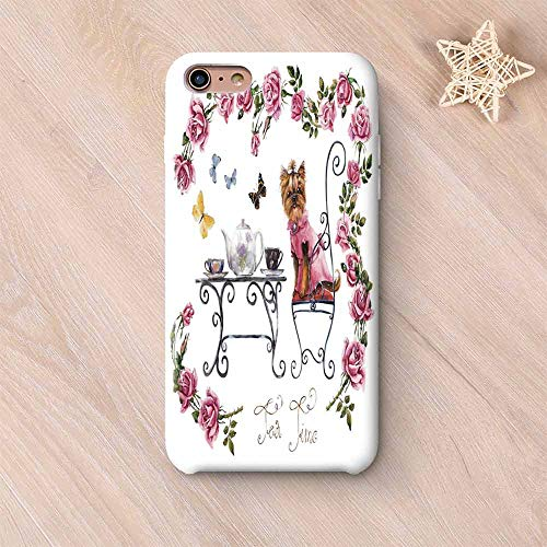 (Yorkie Wear Resisting Compatible with iPhone Case,Yorkshire Terrier in Pink Dress Having a Tea Party Tea Time Butterflies Roses Decorative Compatible with iPhone 7/8,iPhone 6 Plus / 6s Plus)