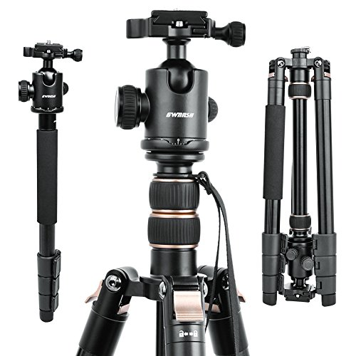 "66"" DSLR Camera Tripod, Professional Compact Travel Tripod,Lightweight Movie Video Projector Stand With 360 Degree Ball Head, Bubble Level, Quick Plate And Bag For Nikon Canon Sony Fuji Other Cameras"