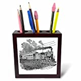 3dRose ph_47894_1 Antique Steam Train Sketch Tile Pen Holder, 5''