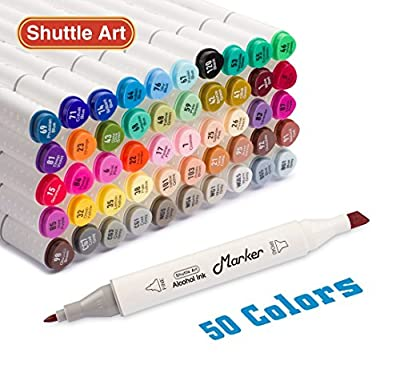 Shuttle Art 50 Colors Dual Tip Art Markers,Permanent Alcohol Marker Pens Highlighters with Case Perfect for Illustration Adult Coloring Sketching and Card Making
