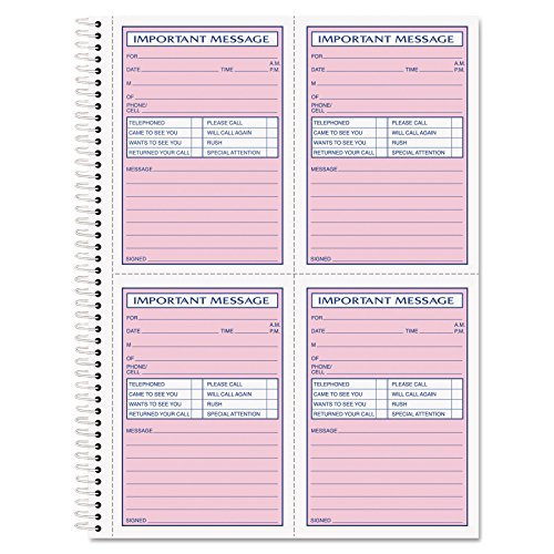 TOPS 4005 Telephone Message Book, Fax/Mobile Section, 5 1/2 x 3 3/16, Two-Part, 200/Book