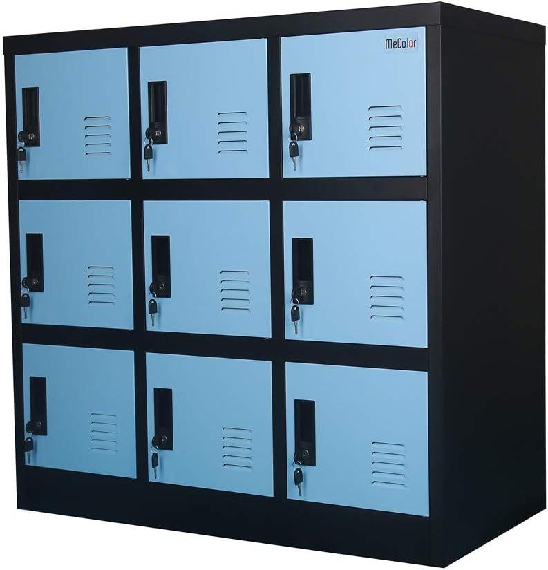 Small Office Storage Locker Cabinet Organizer for Employee,School Locker for Kids Mini Size (Blue, W9D)