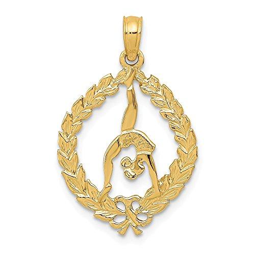 low Gold Solid Polished Framed Gymnast Pendant ()