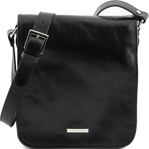 Tuscany Leather TL Messenger Two compartments leather shoulder bag Black by Tuscany Leather