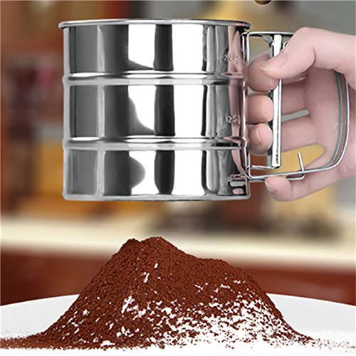 [Flour Sifter Shaker Mechanical Stainless Steel Sugar Icing Mesh Baking Kitchen Tool] (Vegan Cupcake Recipes For Halloween)
